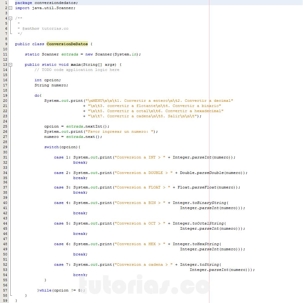 programacion en java: conversion de datos