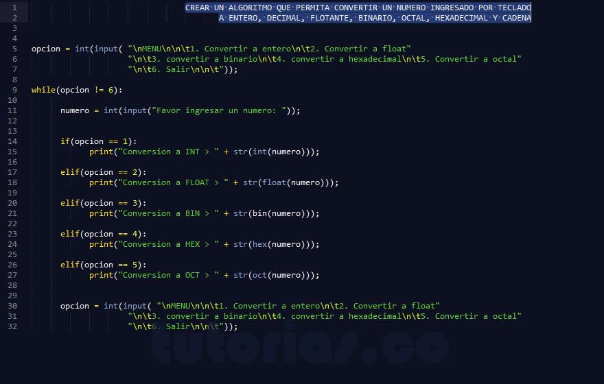 programacion en python: conversion de datos