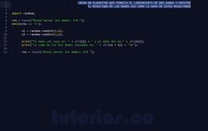 programacion en python: lanzamiento de dados