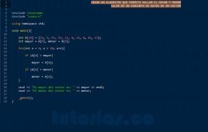 programacion en C++: hallar el mayor y menor valor de un vector