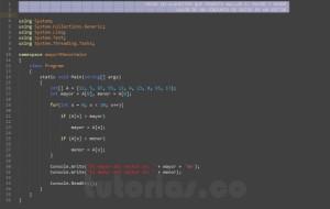programacion en c#: hallar el mayor y menor valor de un vector