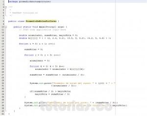 programacion en java: promedio de notas por curso