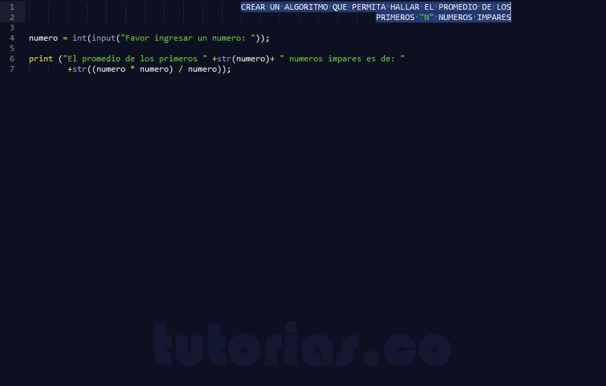 programacion en python: hallar el promedio de numeros impares