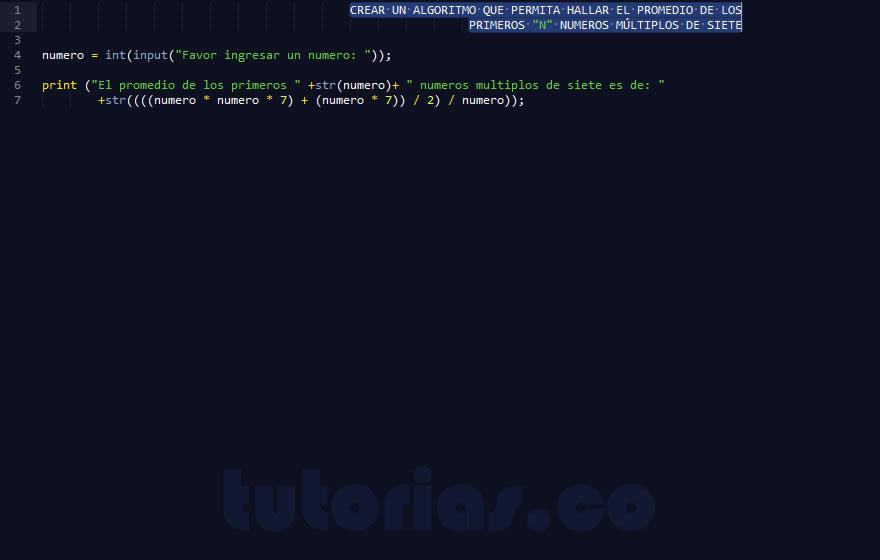 programacion en python: hallar el promedio de numeros multiplos de siete