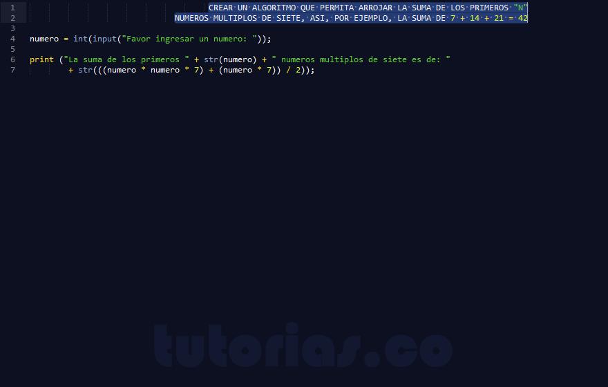 programacion en python: suma de numeros multiplos de siete