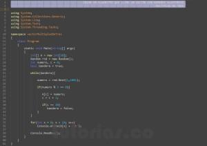 programacion en c#: vector con numeros multiplos de tres