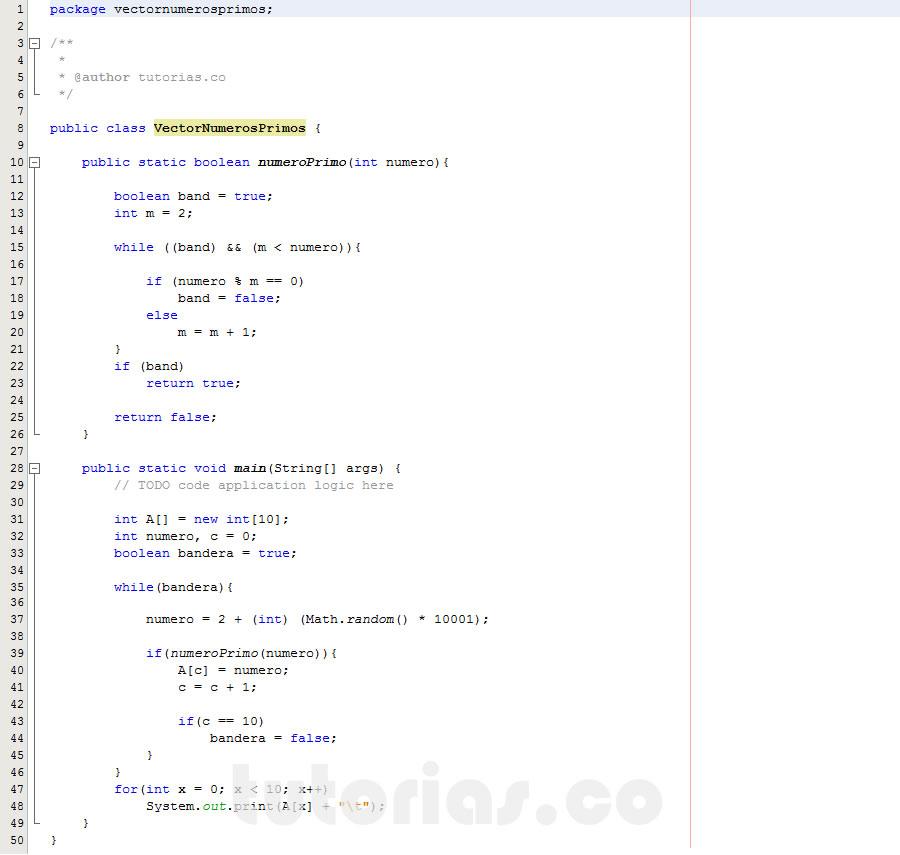 programacion en java: vector con numeros primos