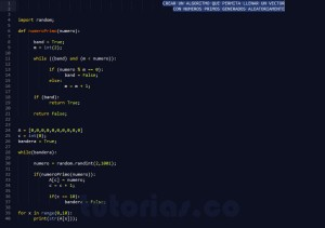 programacion en python: vector con numeros primos