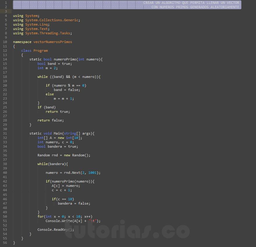 programacion en c#: vector con numeros primos