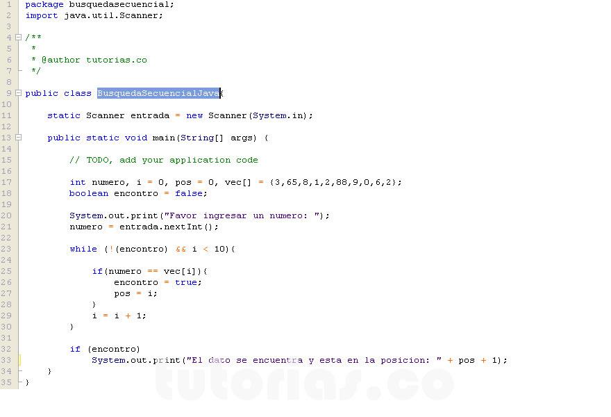 arrays – java (busqueda secuencial de un dato)Tutorias.co