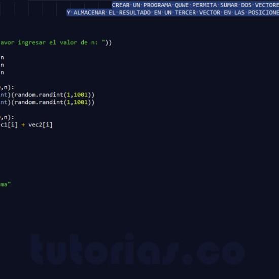 programacion en python: suma de vectores