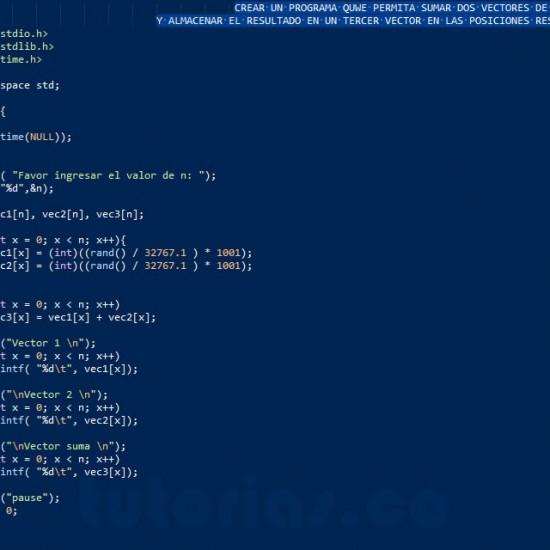 programacion en turbo C: suma de vectores