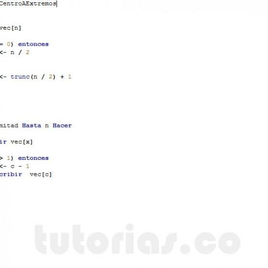 programacion en pseint: imprimir vector desde el centro hacia los extremos