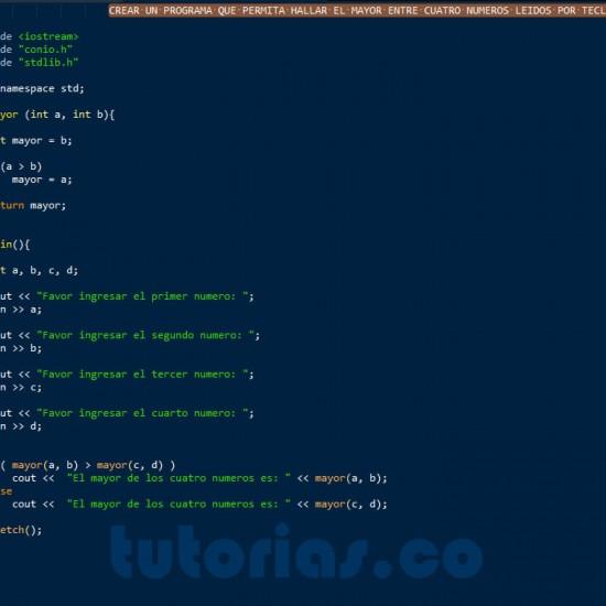 programacion en c++: hallr el mayor de cuatro numeros