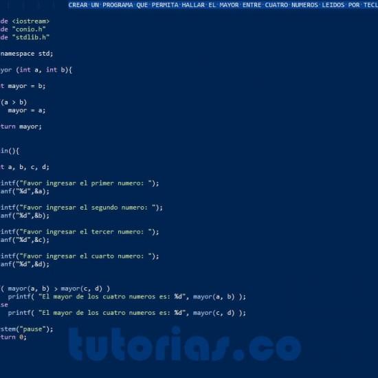 programacion en turbo C: hallar el mayor de cuatro numeros