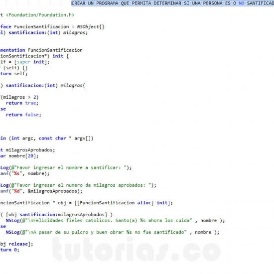 programacion en Objective C: funcion santificacion