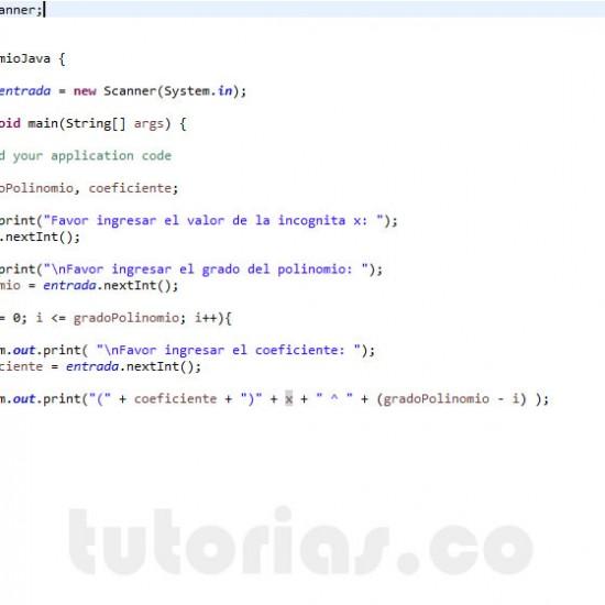 programacion en java: mostrar la representacion de un polinomio