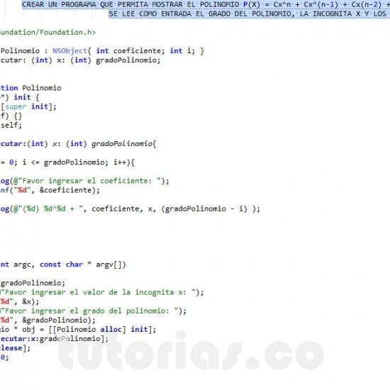 programacion en Objective C: mostrar la representacion de un polinomio