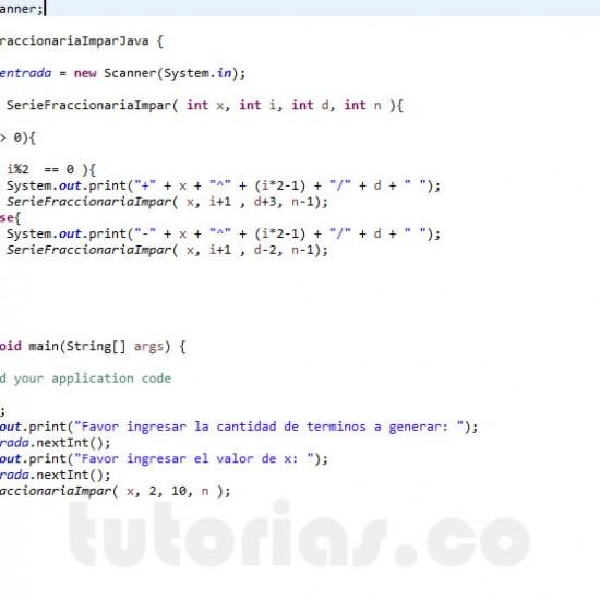 programacion en java: serie fraccionaria impar recursivo
