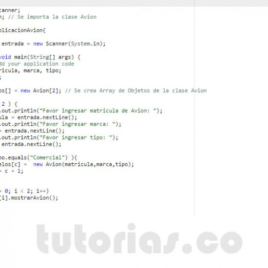 programacion en java: clase aplicacion Avion