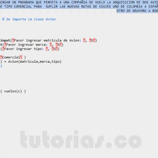 programacion en matLab: clase aplicacion Avion