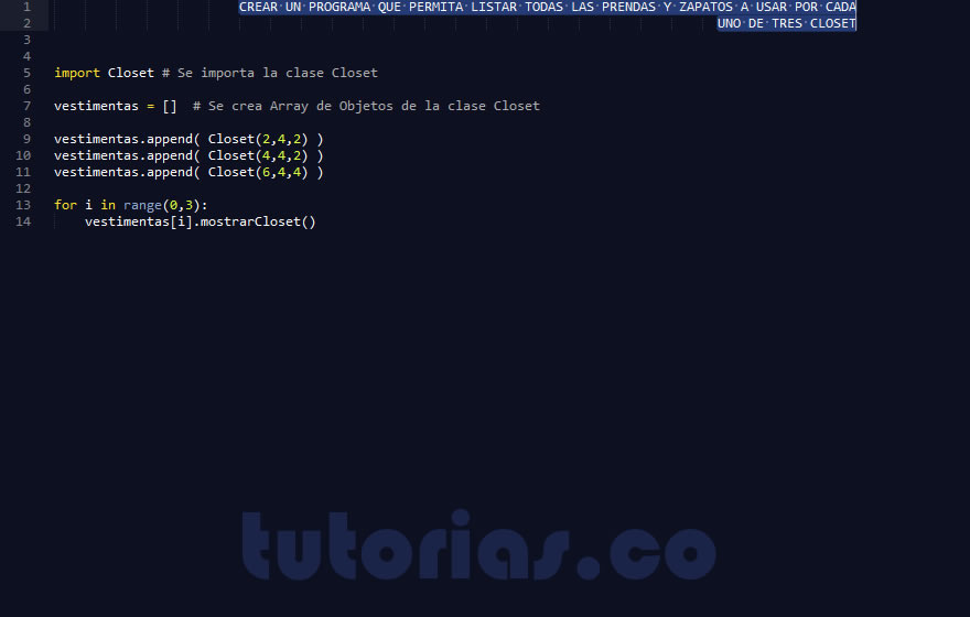 Poo python consulta clase closet for Python consul