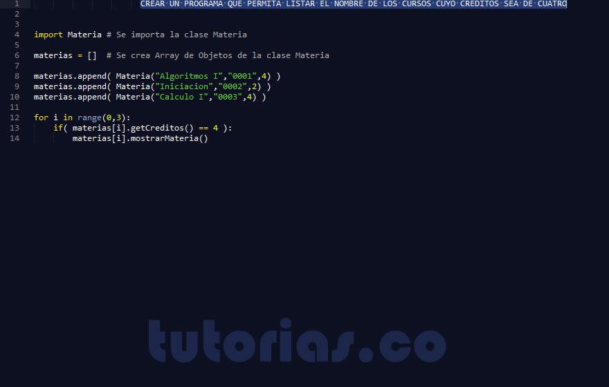 Poo python clase consulta materia for Python consul