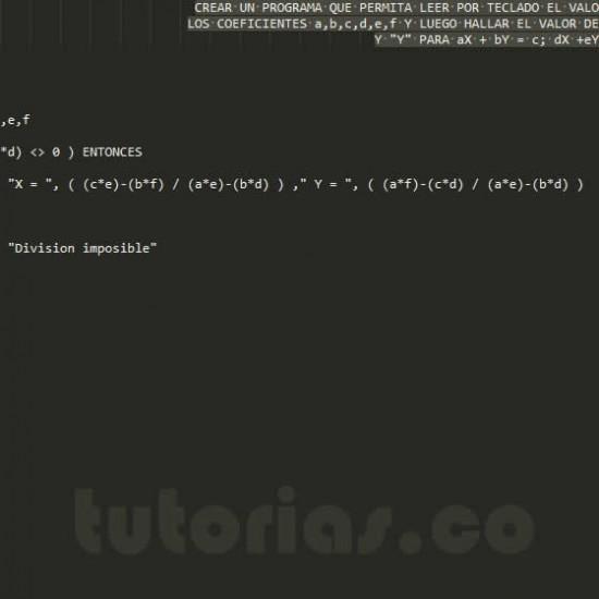 programacion en pseudocodigo: ecuaciones lineales