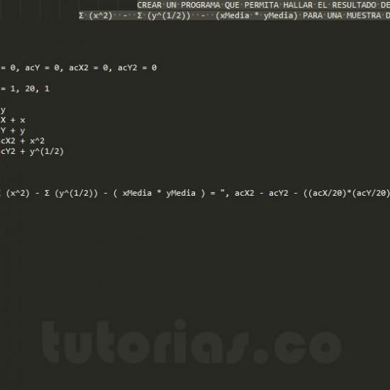 programacion en pseudocodigo: expresion de sumatorias