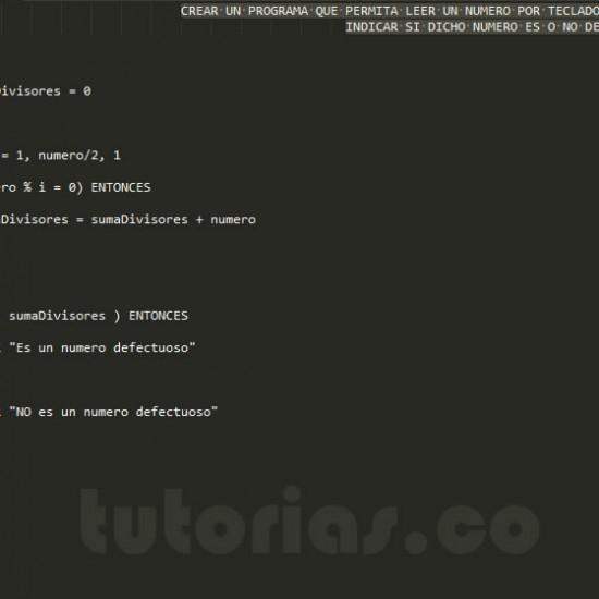 programacion en pseudocodigo: numero defectuoso