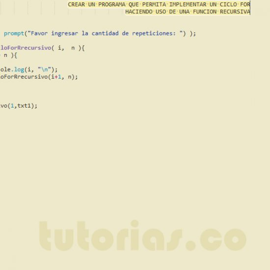 programacion en javascript: ciclo for recursivo