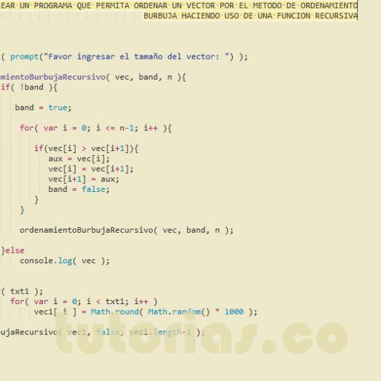 programacion en javascript: ordenamiento burbuja recursivo
