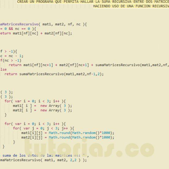 programacion en javascript: suma recursiva entre dos matrices