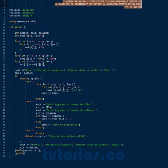 programacion en c++: matriz dispersa diagonal principal