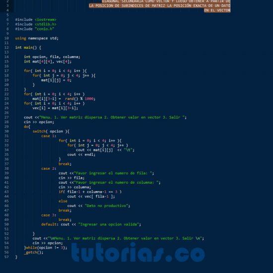 programacion en C++: matriz dispersa diagonal secundaria