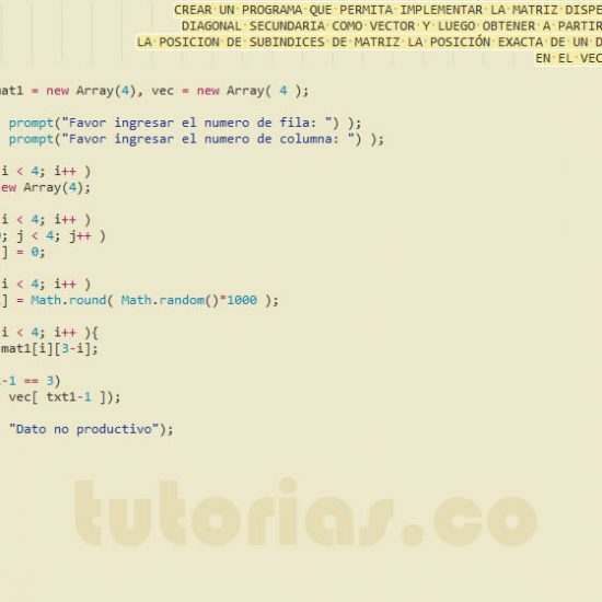 programacion en javascript: matriz dispersa diagonal secundaria