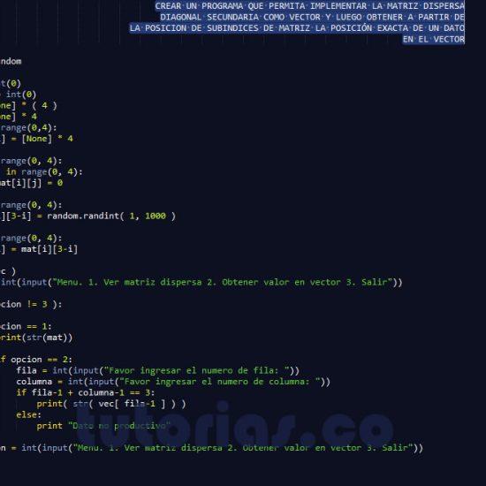 programacion en python: matriz dispersa diagonal secundaria