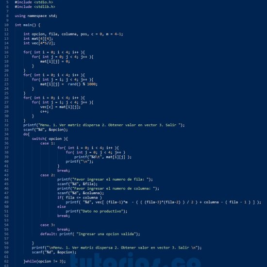 programacion en turbo c: matriz dispersa triangular superior derecha
