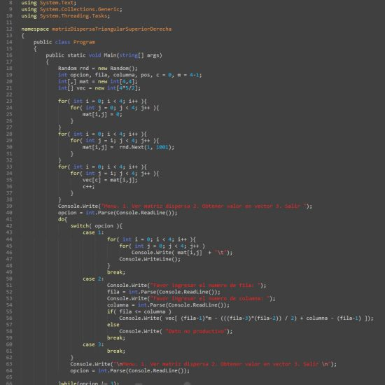 programacion en c#: matriz dispersa triangular superior derecha