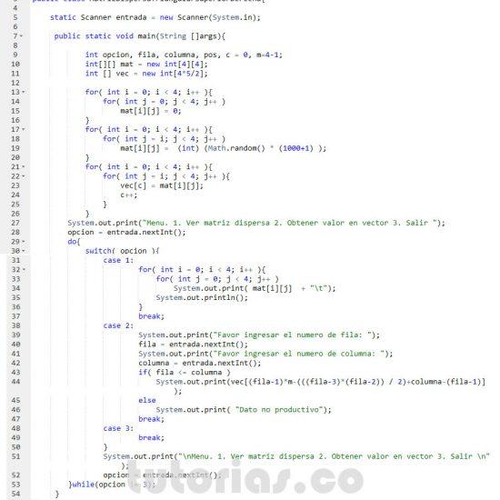 programacion en java: matriz dispersa triangular superior derecha