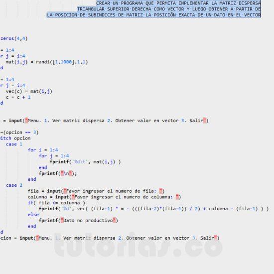 programacion en matLab: matriz dispersa triangular superior derecha