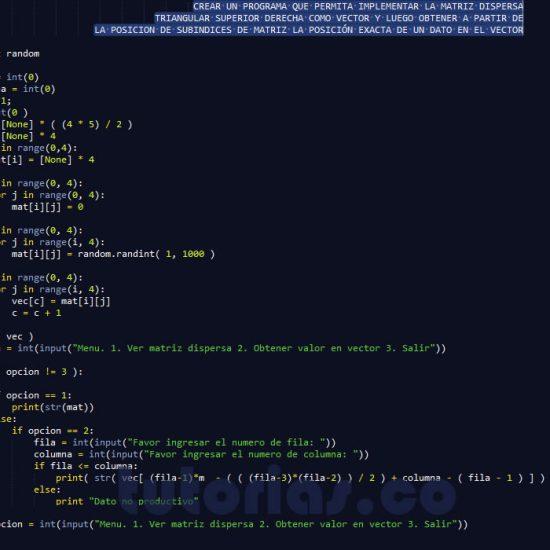 programacion en python: matriz dispersa triangular superior derecha