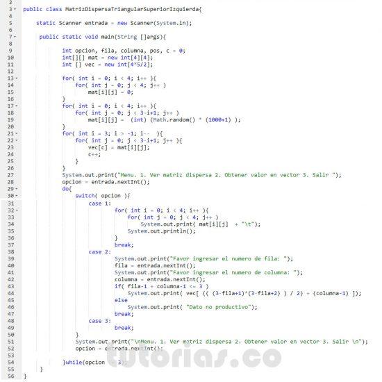 programacion en javascript: matriz dispersa triangular superior izquierda