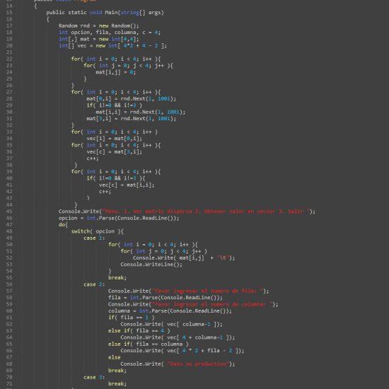 programacion en c#: matriz dispersa figura z invertida