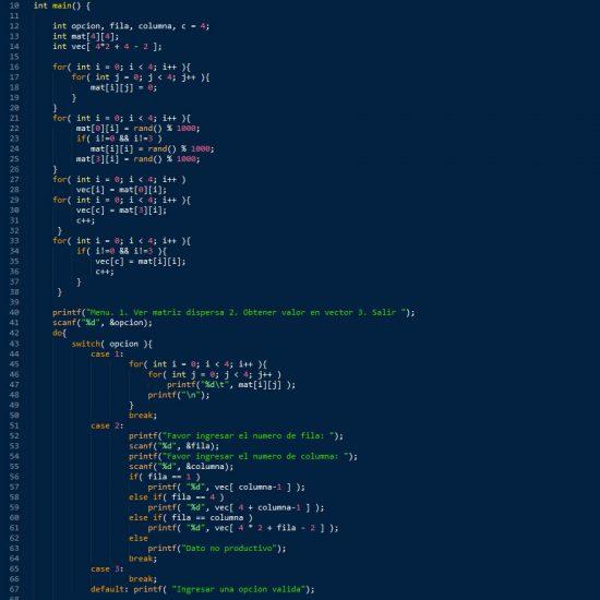 programacion en c++: matriz dispersa figura z invertida