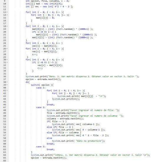 programacion en java: matriz dispersa figura z invertida