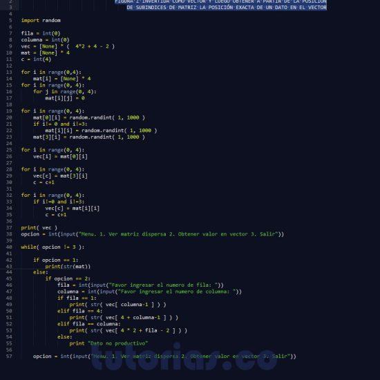 programacion en python: matriz dispersa figura z invertida