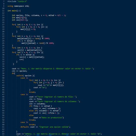 programacion en c++: matriz dispersa figura cruz