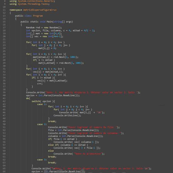 programacion en c#: matriz dispersa figura cruz