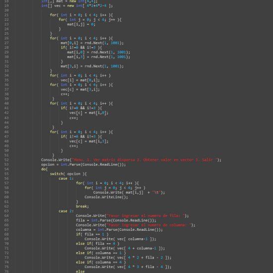 programacion en c#: matriz dispersa figura cuadrado